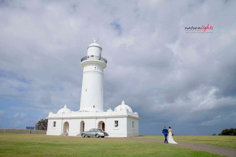 light house bride and groom