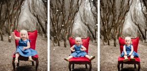 3 photos of cute kid having her Christmas photo taken at Catherine Hill Bay location