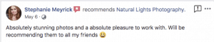 Positive facebook review from client about our Christmas photos