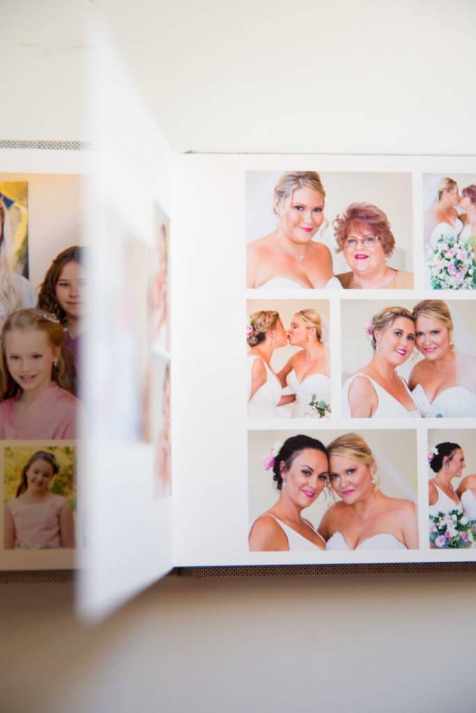 Display of quality parent wedding album laying open