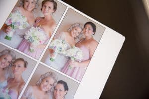 Quality wedding album display with images of the bride and bridesmaids