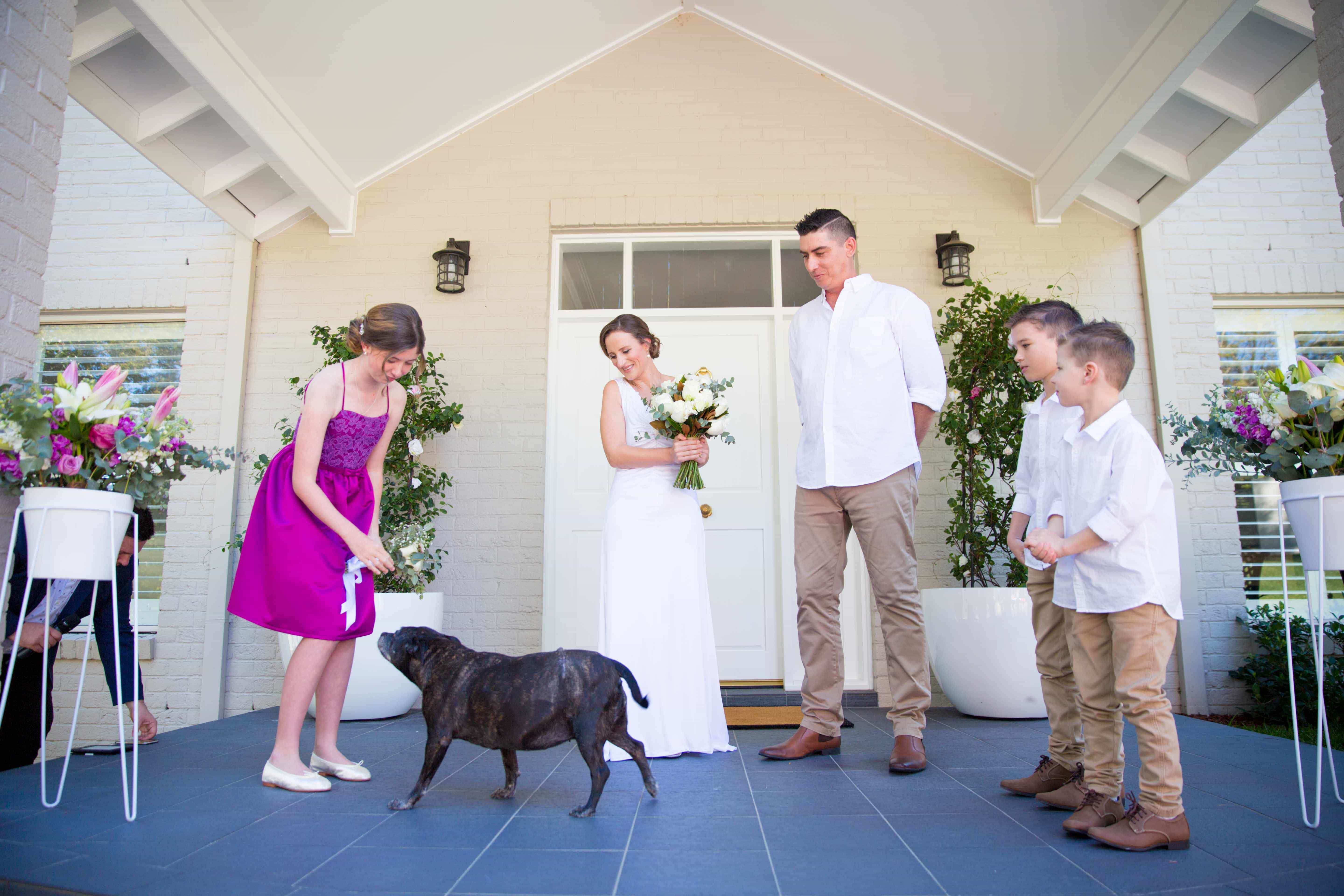 Family at the alter and the dog at the wedding at whitebridge ceremony, NSW