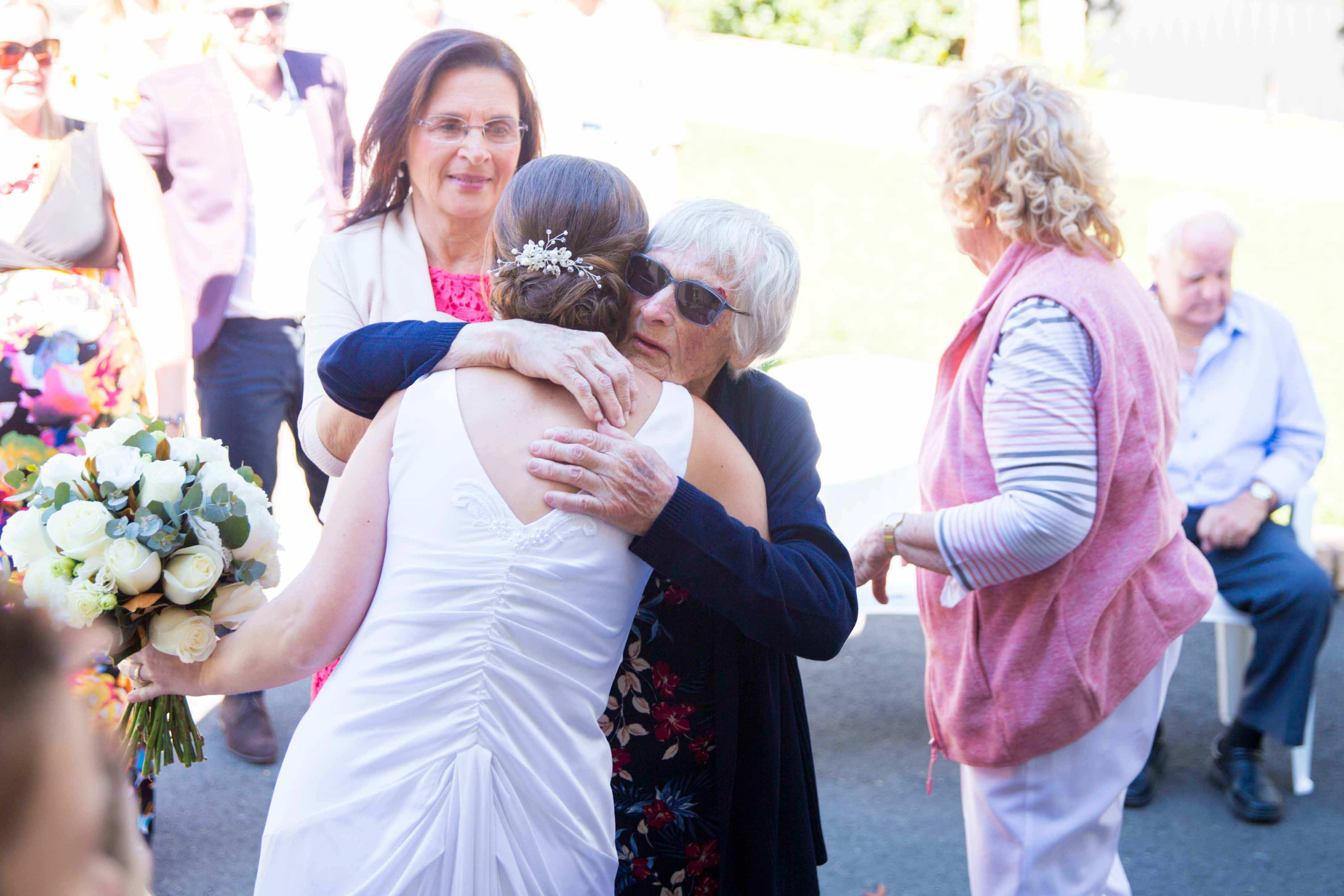 Hugs with nan after the ceremony at whitebridge NSW
