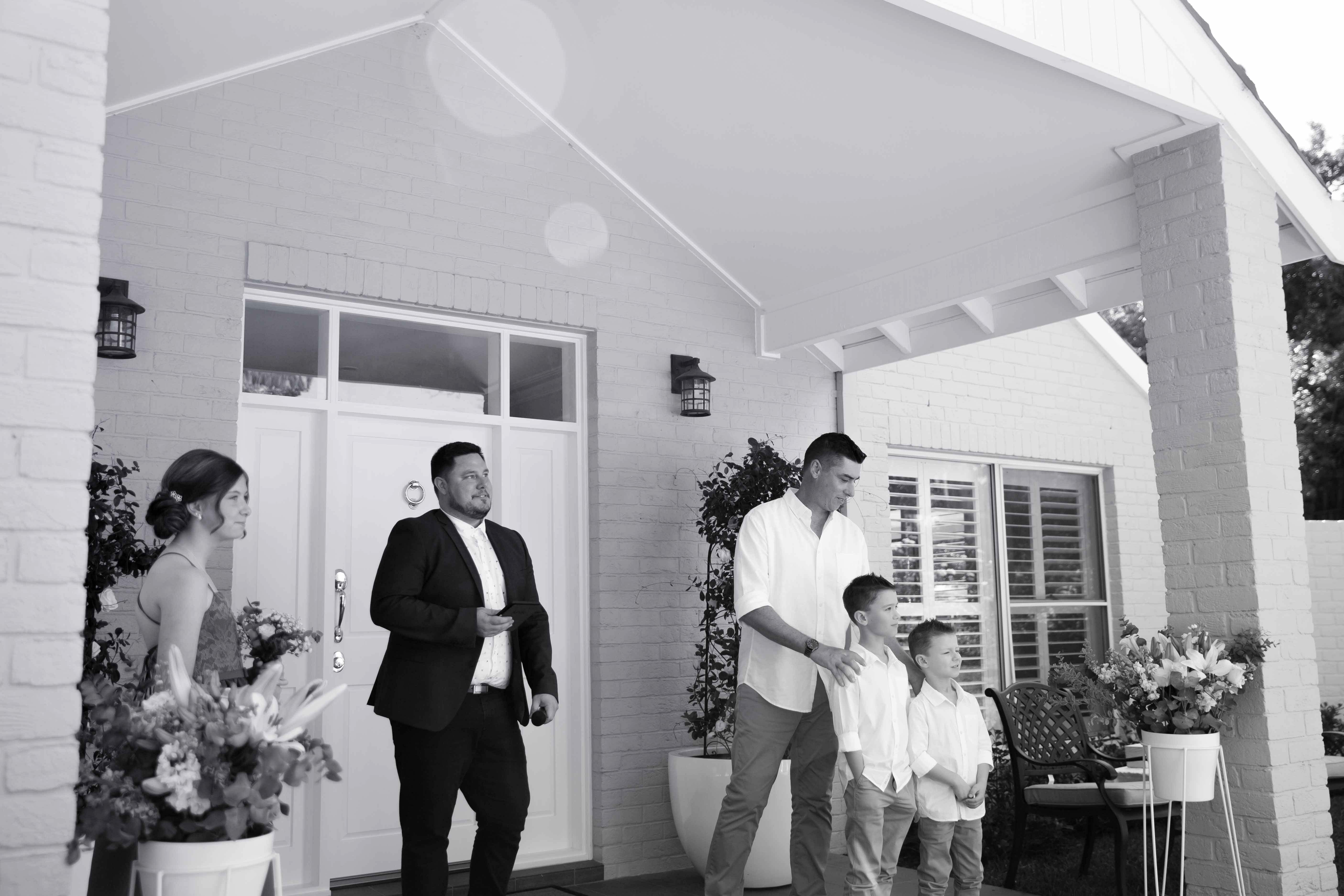 Groom and kids waiting for the bride at the alter at Whitebridge NSW