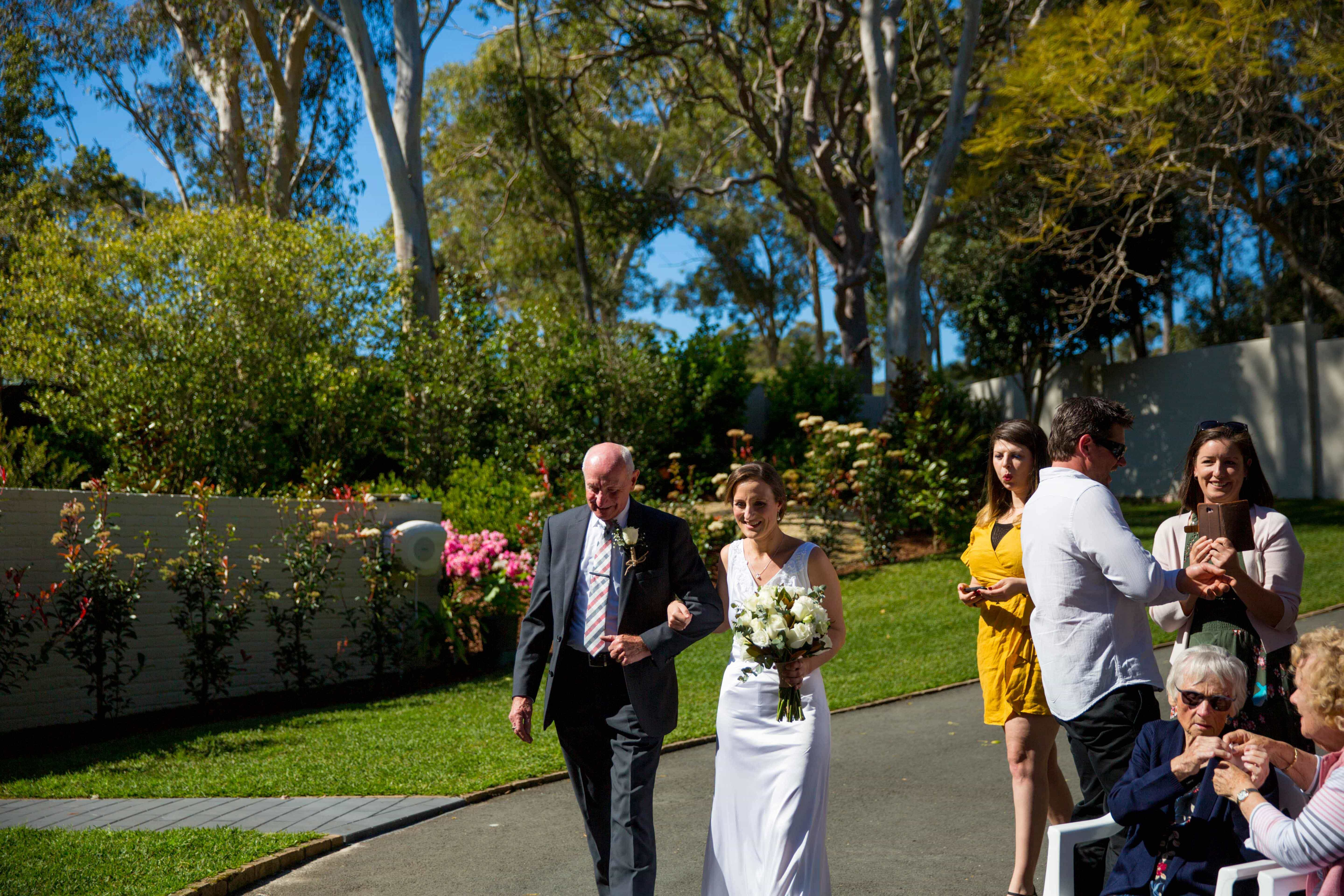 walking down the aisle with dad at Whitebridge NSW