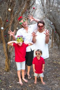 Fun family being silly at Catherine Hill Bay for there Christmas Photos