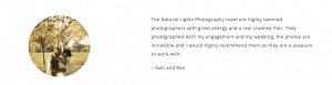 Positive testimonial from Sam and Ron about our wedding photography services