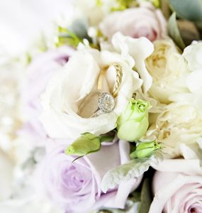 wedding ring on flowers